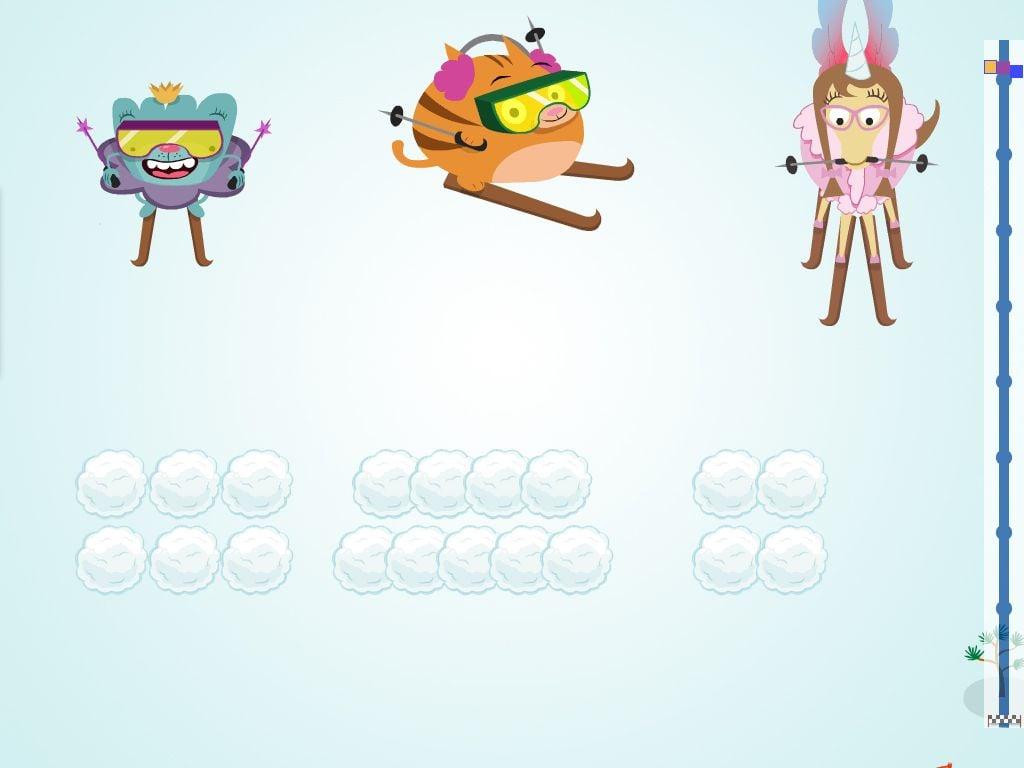 preschool Math Games: Ski Race: Comparing Quantities