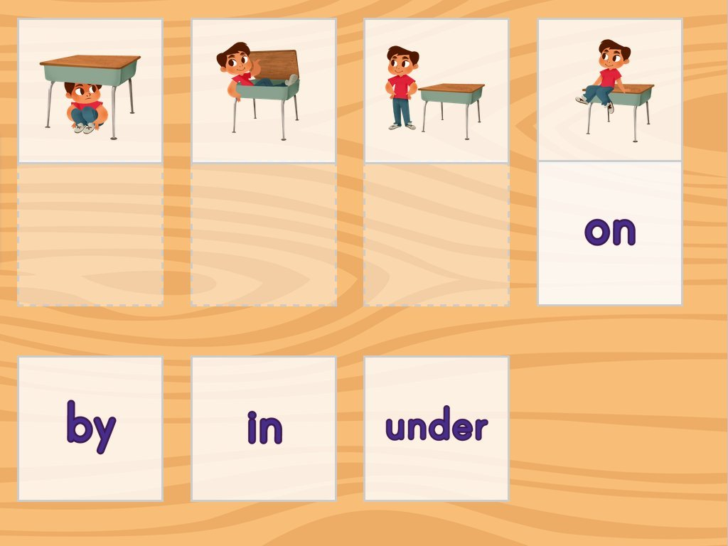 Positional Words Matching Game | Game | Education.com