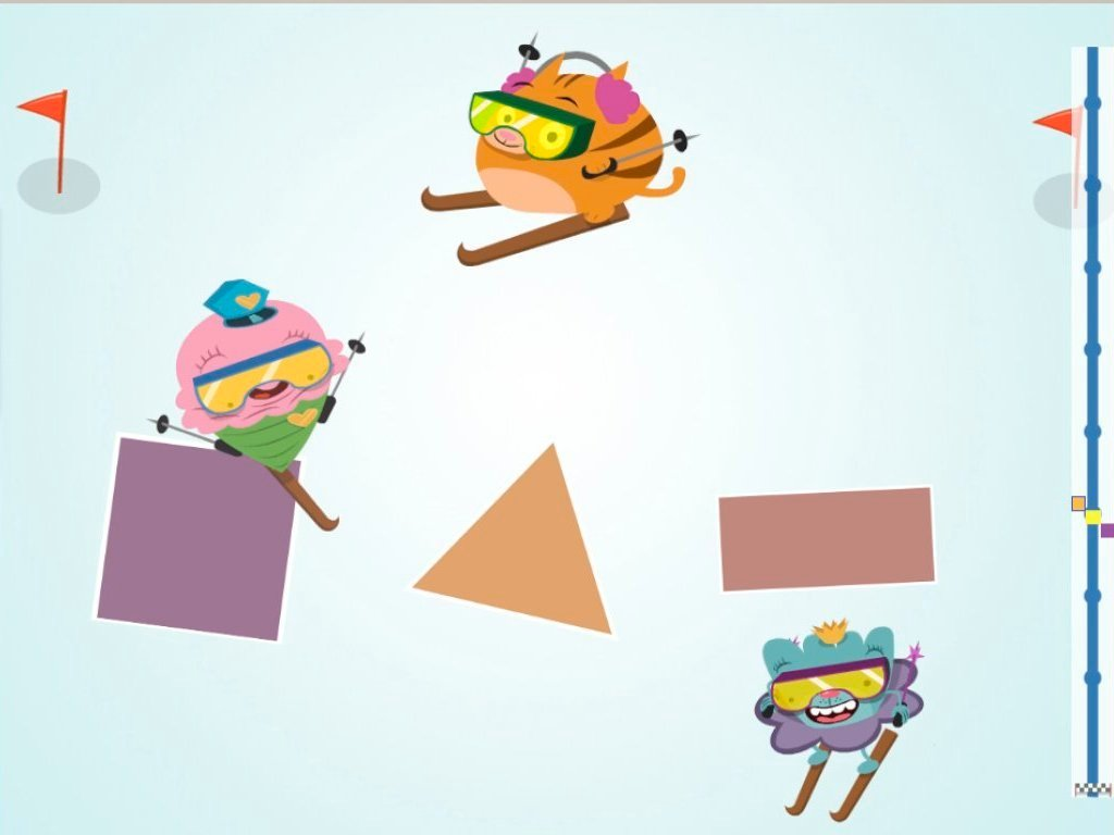 Kindergarten Math Games: Ski Race: Shapes