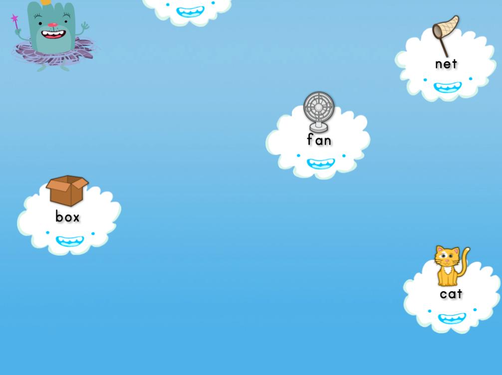 1st grade Reading & Writing Games: Short A Cloud Catcher 2