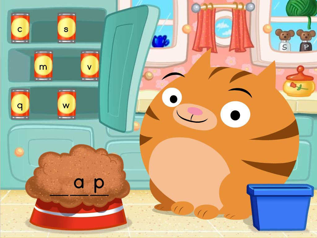 1st grade Reading & Writing Games: Short A Spelling Cat Food