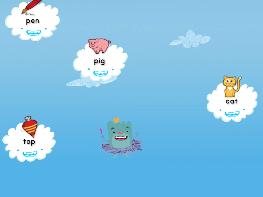 Kindergarten Reading & Writing Games: Short E Cloud Catcher