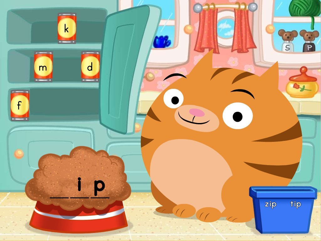 1st grade Reading & Writing Games: Short I Cat Food