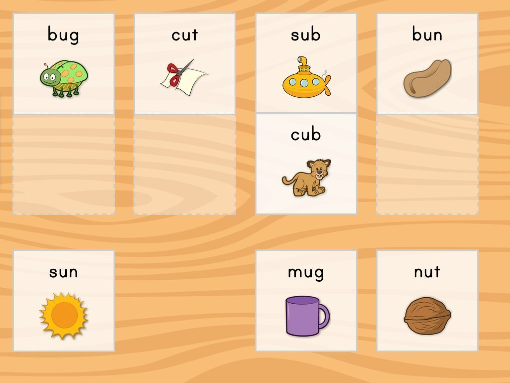 1st grade Reading & Writing Games: Short U Rhyme Match