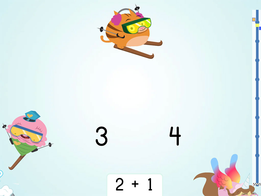 Kindergarten Math Games: Ski Racer: Addition Patterns of 1 More