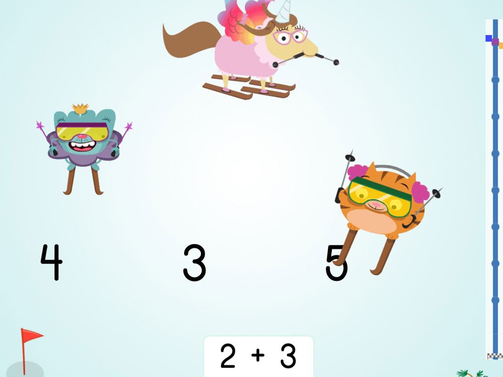 kindergarten Math Games: Ski Racer: Addition to 5