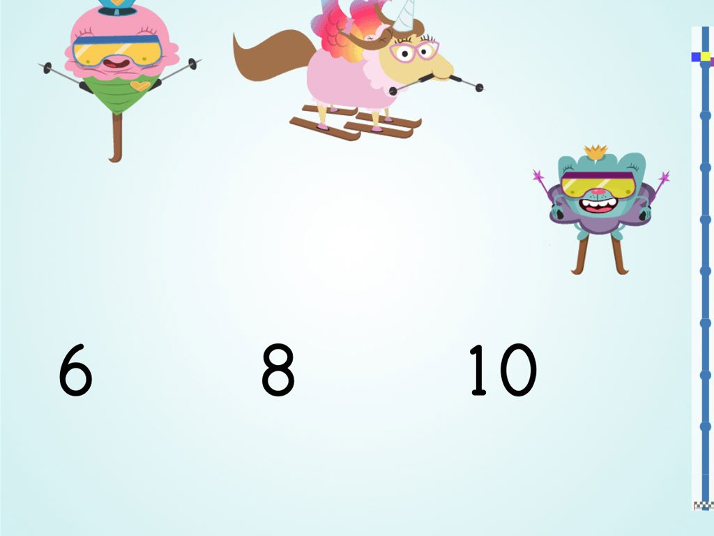 Kindergarten Math Games: Ski Racer: Compare Numbers 1-10