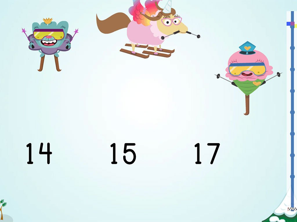 Kindergarten Math Games: Ski Racer: Compare Numbers 10-20