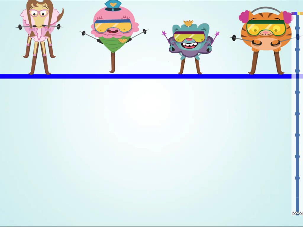 7th grade Math Games: Ski Racer: Dividing Integers