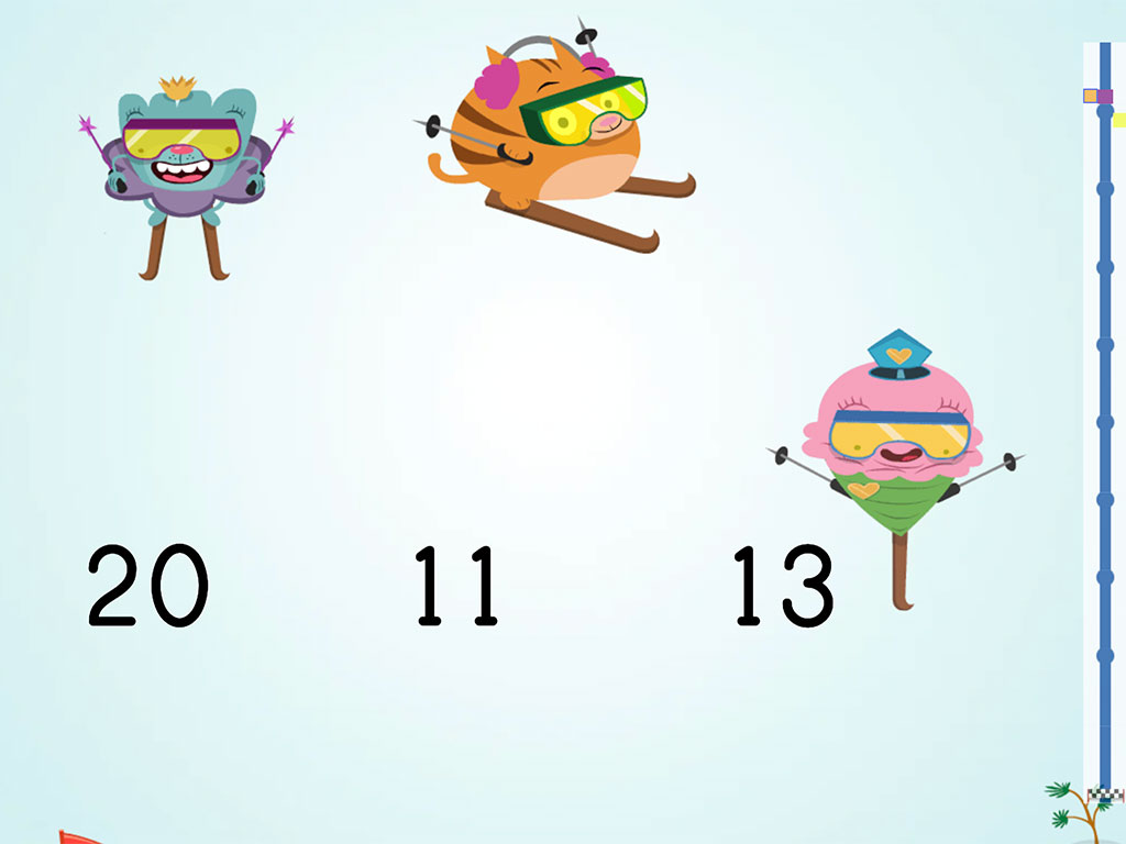 2nd grade Math Games: Ski Racer: Even Numbers