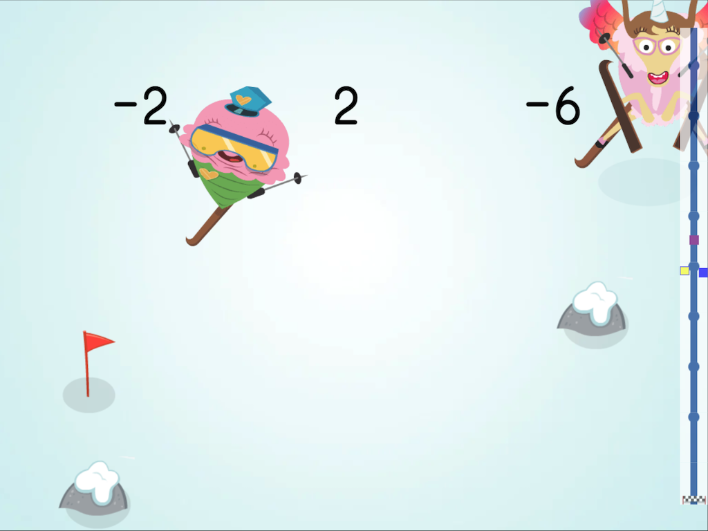 7th grade Math Games: Ski Racer: Missing Integers With Mixed Operations