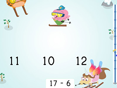 Ski Racer: Practice Subtraction Within 20