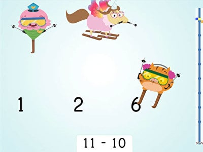 Ski Racer: Subtraction and Finding 10 Less