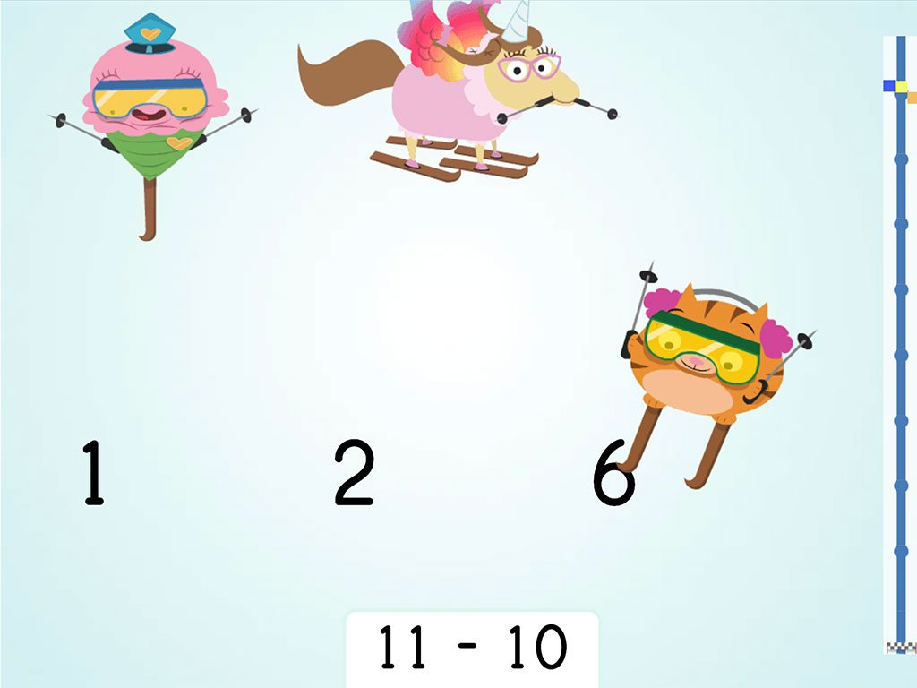 1st grade Math Games: Ski Racer: Subtraction and Finding 10 Less