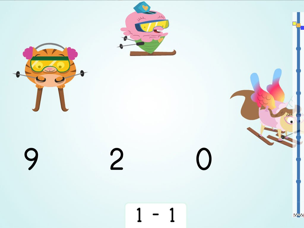 Preschool Math Games: Ski Racer: Subtraction Patterns of 1 Less