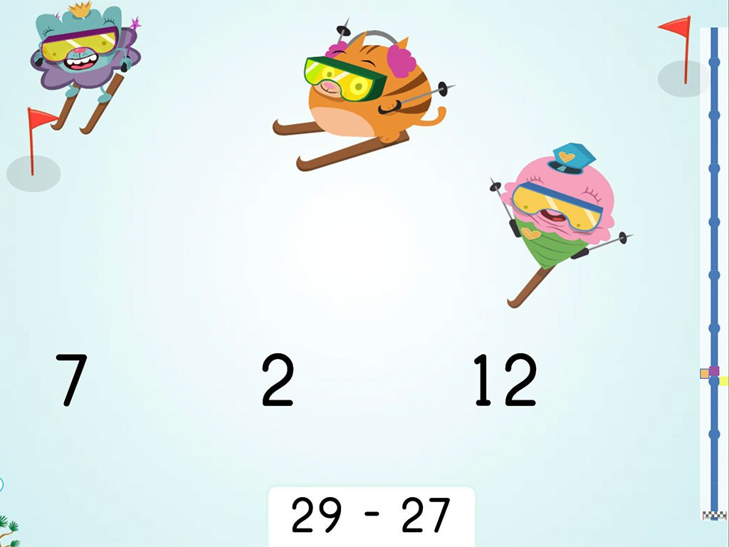 2nd grade Math Games: Ski Racer: Subtraction Within 30