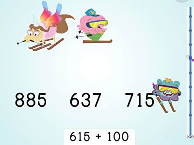 Ski Racer: Three-Digit Addition and Finding 100 More