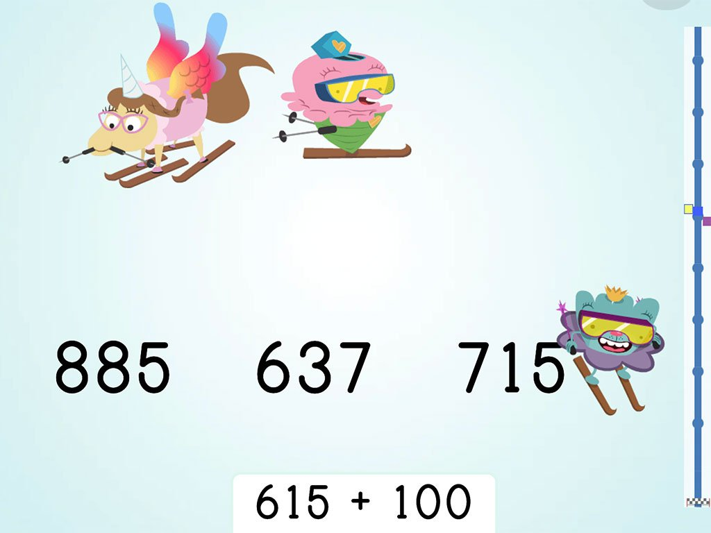 2nd grade Math Games:  Ski Racer: Three-Digit Addition and Finding 100 More