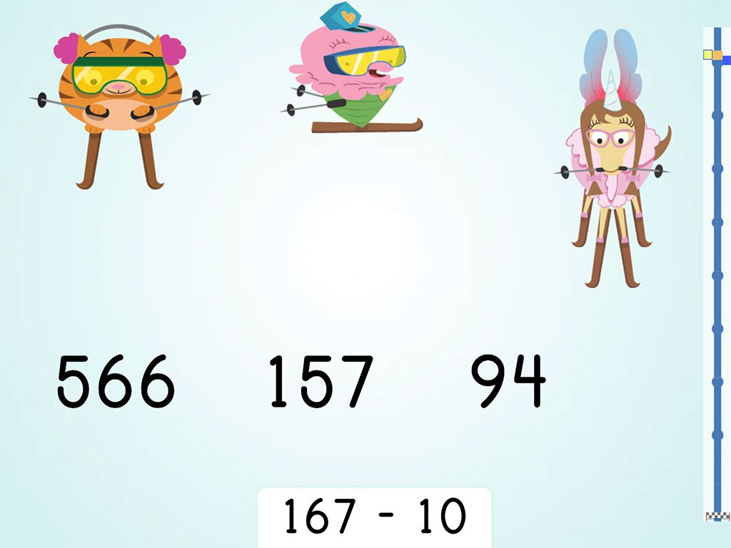 2nd grade Math Games: Ski Racer: Three-Digit Subtraction and Finding 10 Less