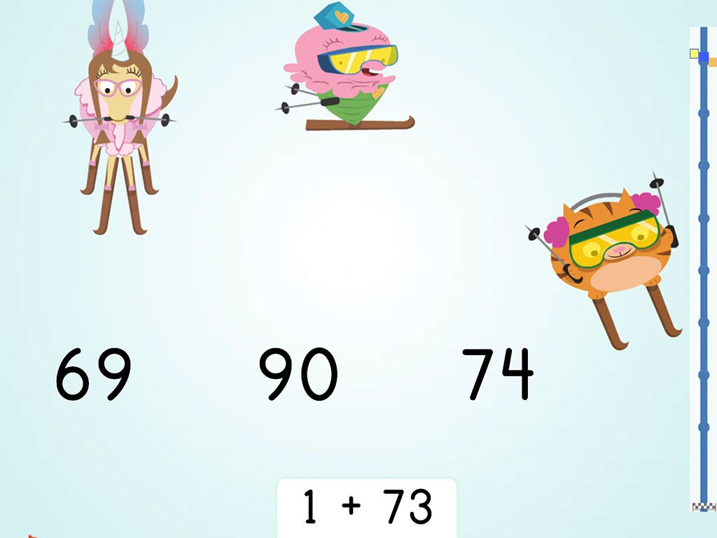 1st grade Math Games: Ski Racer: Two-Digit Addition and Finding 1 More