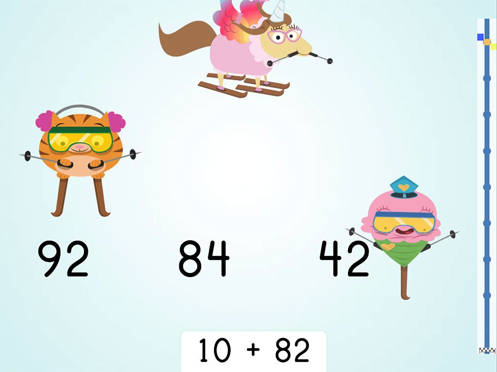 1st grade Math Games: Ski Racer: Two-Digit Addition and Finding 10 More