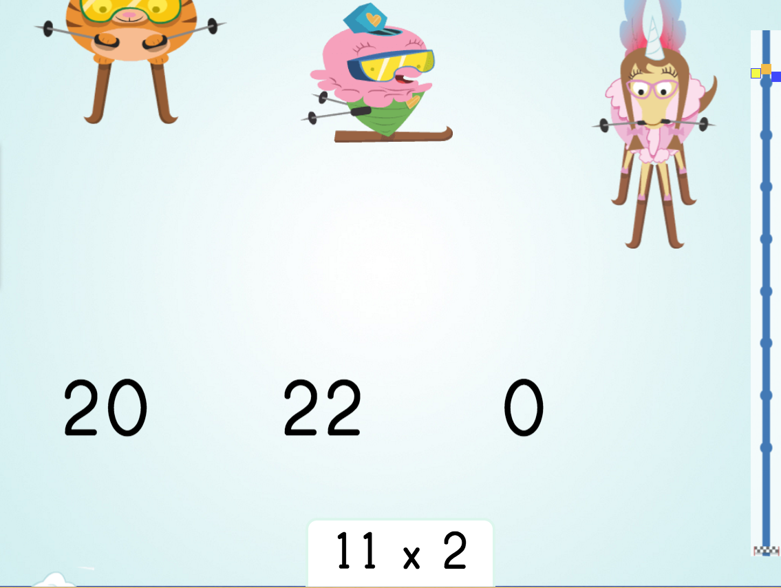 3rd grade Math Games: Multiply by 2: Ski Racer
