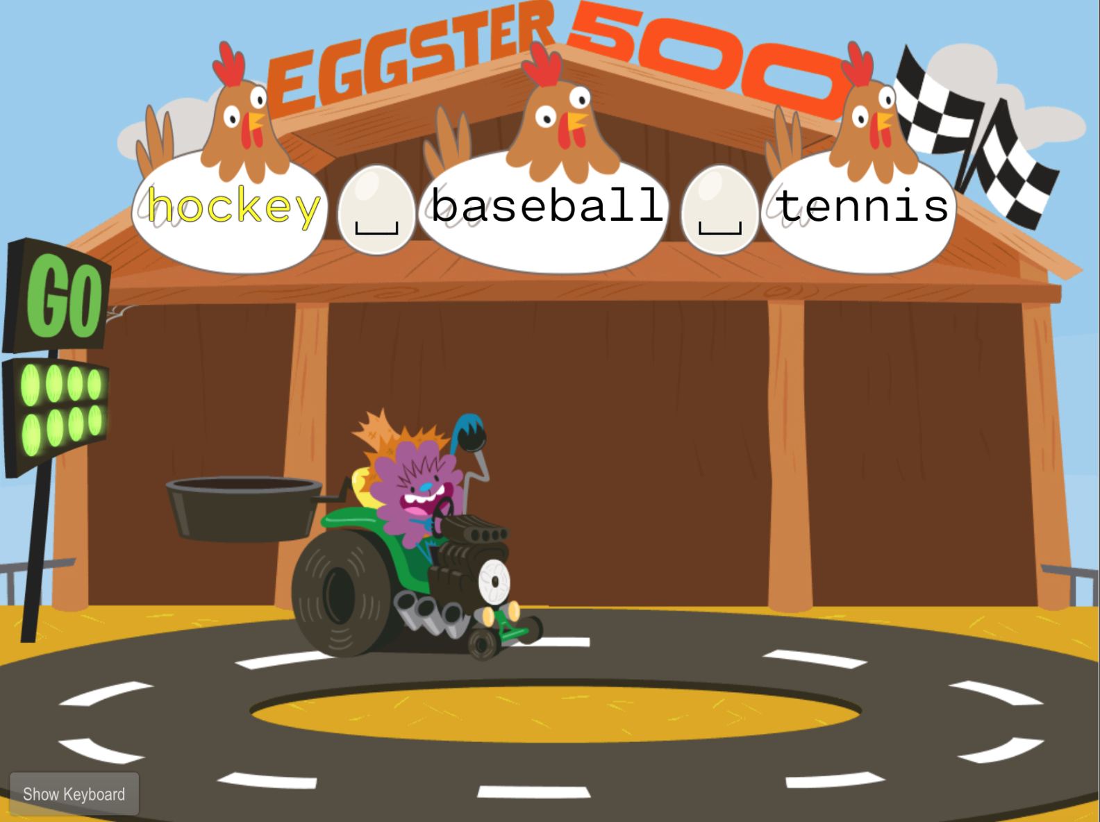 1st grade Typing Games: Typing Words: Sports Words