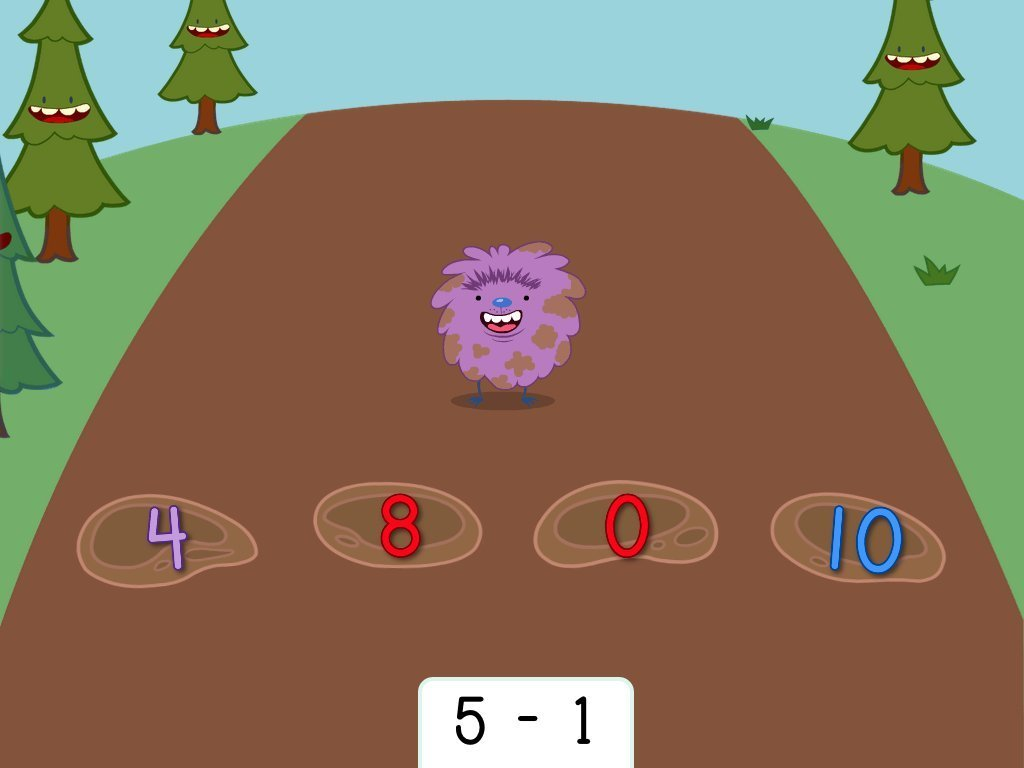 1st grade Math Games: Subtraction Hopper