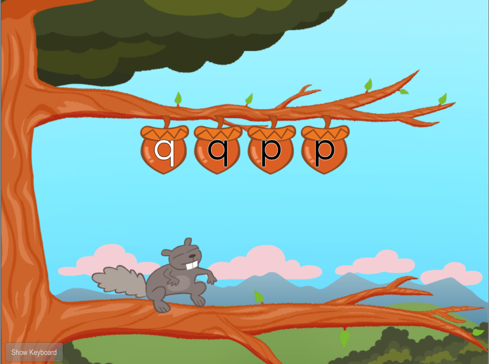 1st grade Typing Games: Top Row Typing: Q and P with Squirrel
