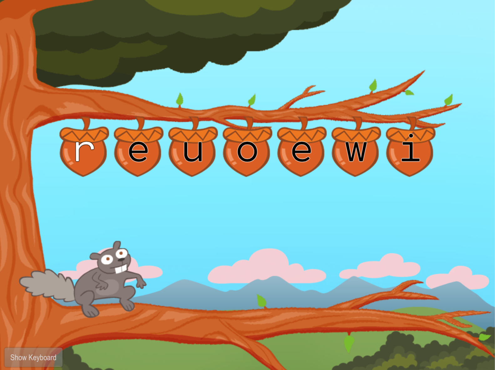 1st grade Typing Games: Top Row Typing: R-U-E-I-W-O with Squirrel