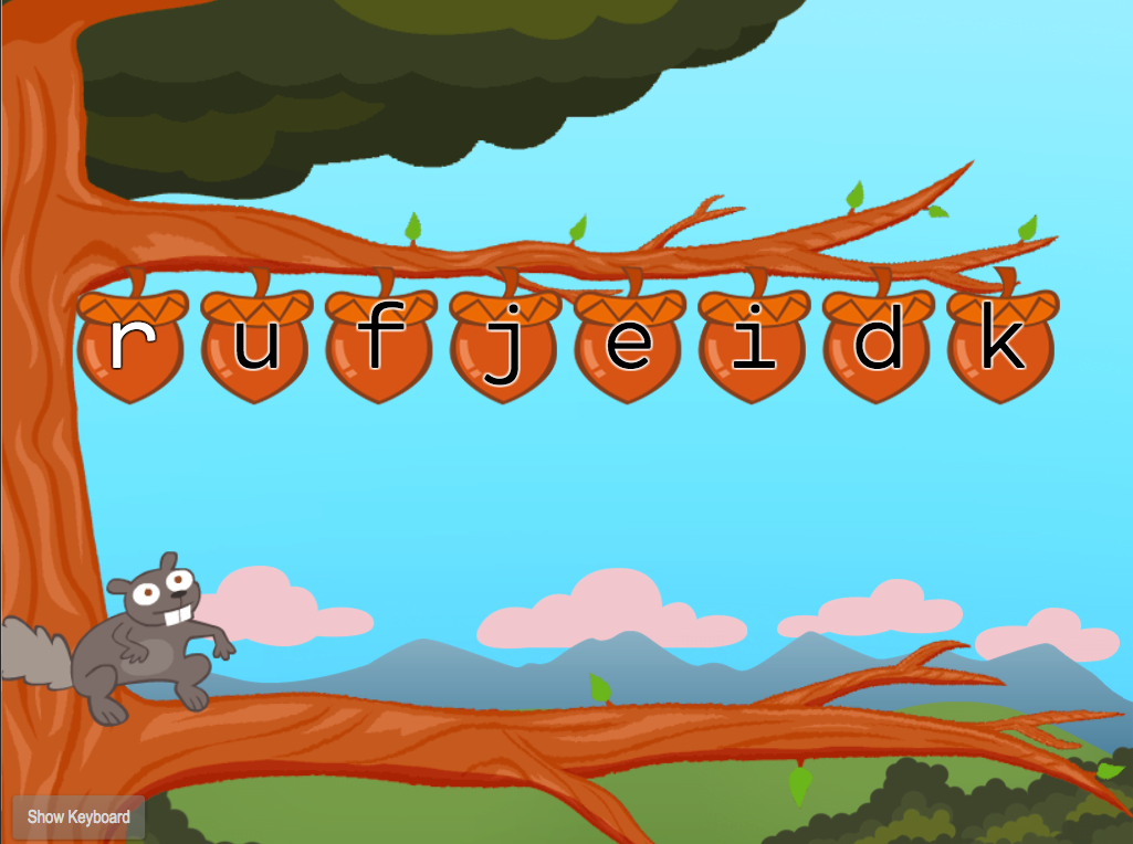 1st grade Typing Games: Top Row Typing: R-U-F-J-E-I-D-K with Squirrel