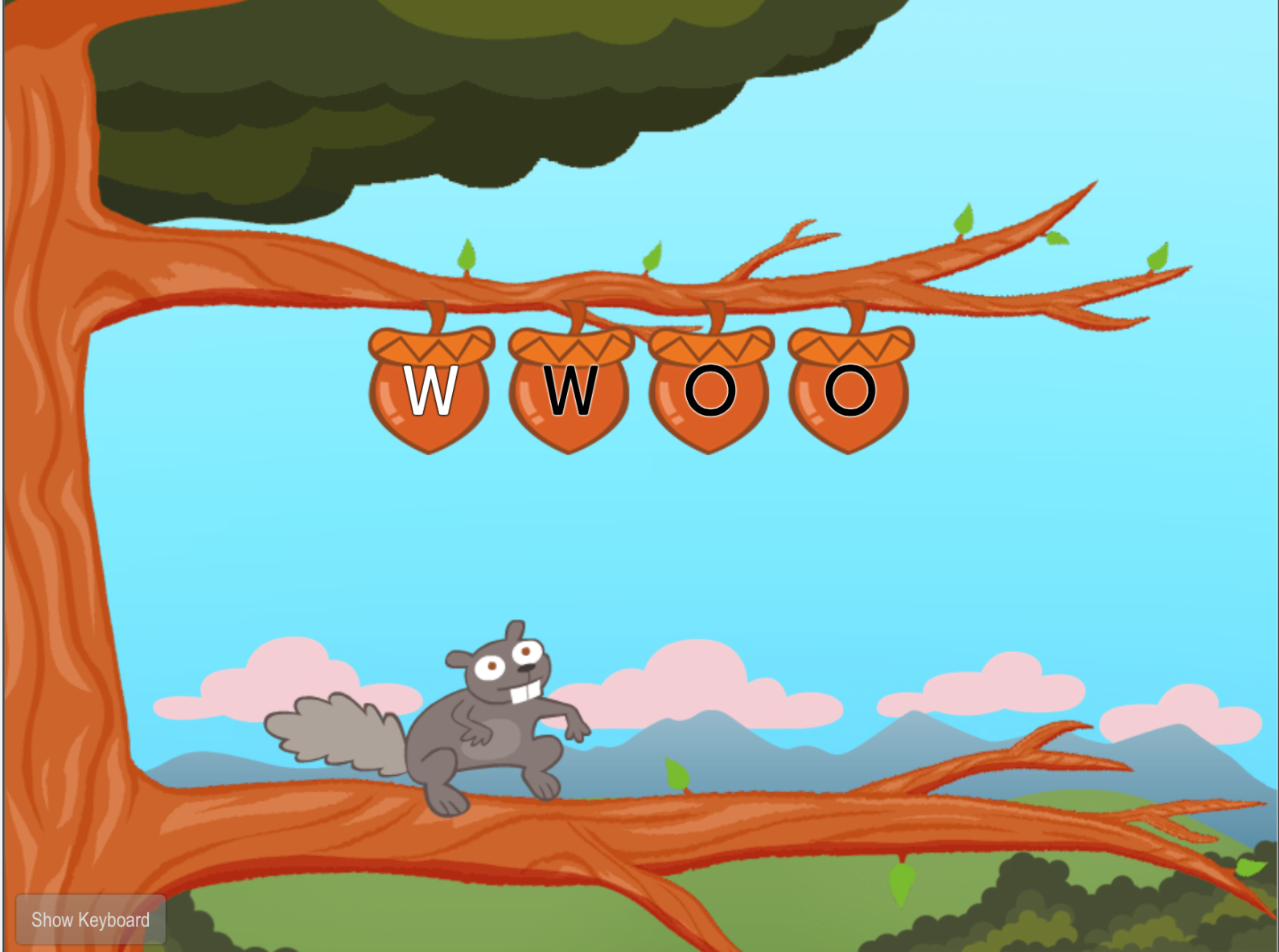 1st grade Typing Games: Top Row Typing: W and O with Squirrel