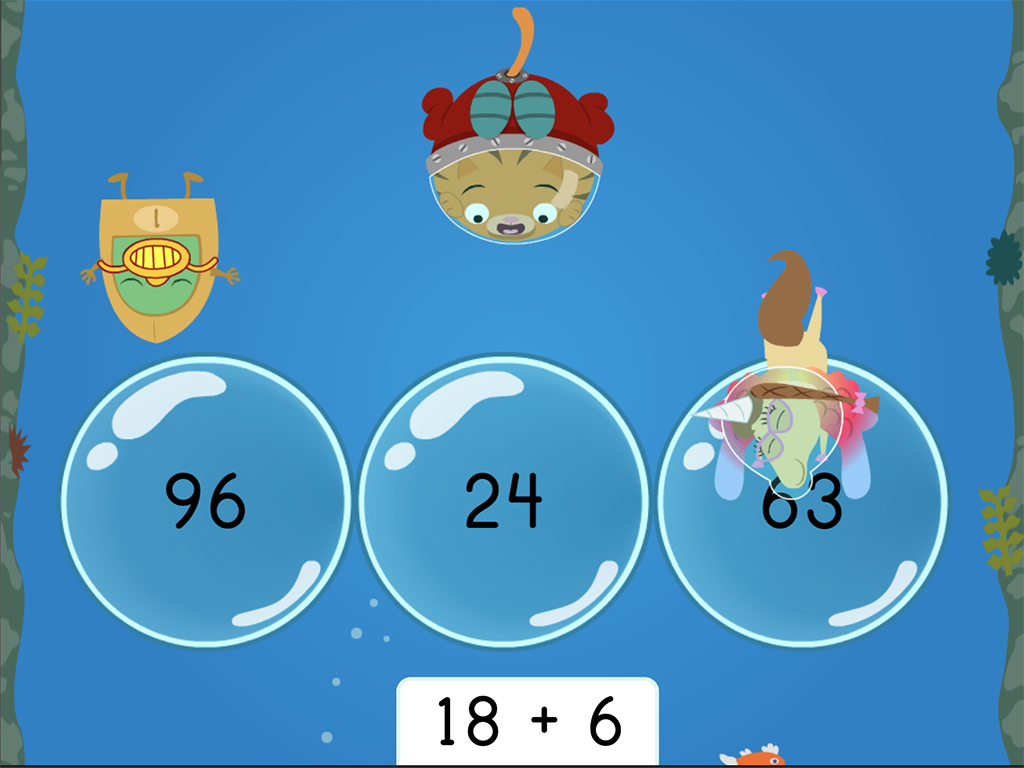 1st grade Math Games: Treasure Diving: Adding Two-Digit and One-Digit Numbers