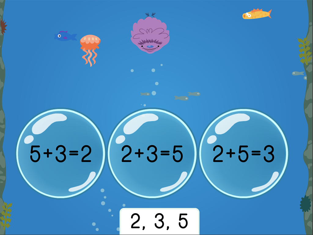 1st grade Math Games: Treasure Diving: Addition Fact Families Within 10 (Game 1)