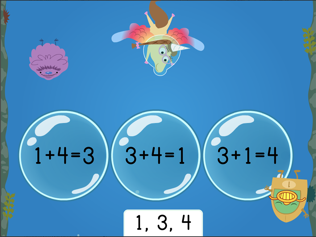 1st grade Math Games: Treasure Diving: Addition Fact Families Within 10 (Game 2)