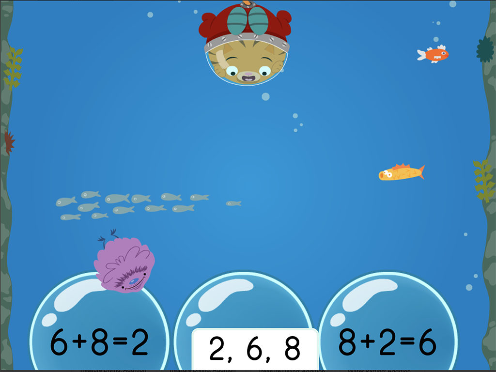 1st grade Math Games: Treasure Diving: Addition Fact Families Within 10 (Game 3)
