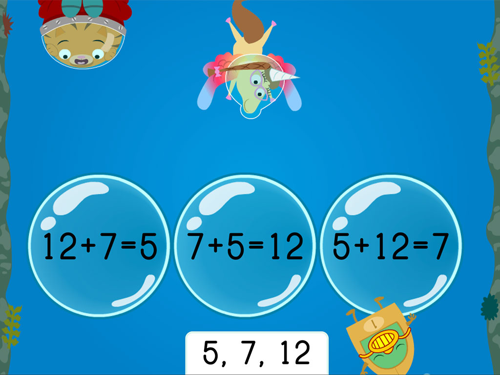1st grade Math Games: Treasure Diving: Addition Fact Families Within 20