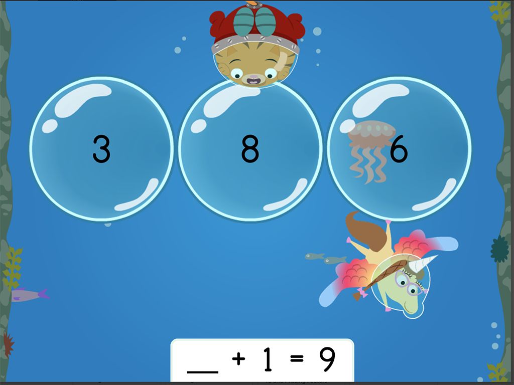 1st grade Math Games: Treasure Diving: Addition Missing Factors Within 10 (Game 1)