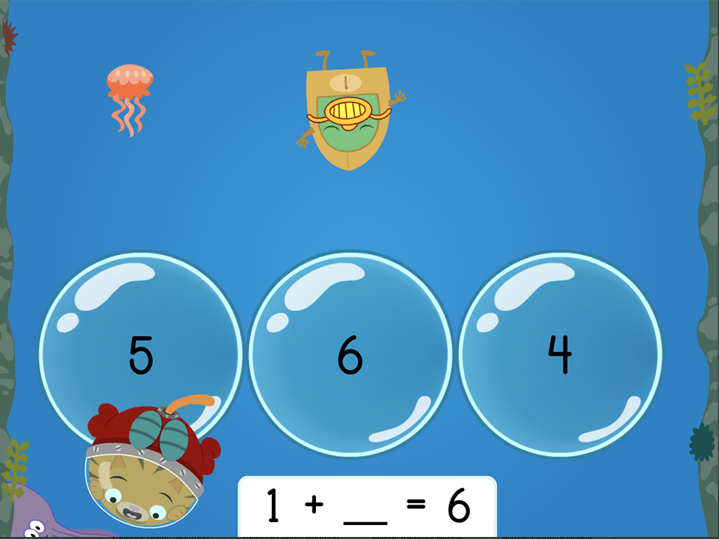 1st grade Math Games: Treasure Diving: Addition Missing Factors Within 10 (Game 2)