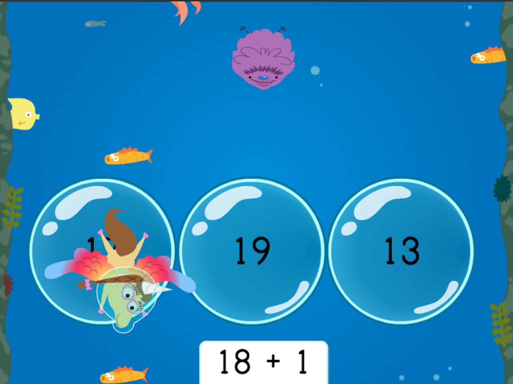 1st grade Math Games: Treasure Diving: Addition Patterns of 1 More