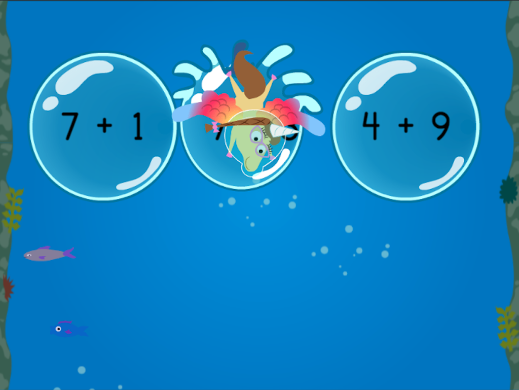 1st grade Math Games: Treasure Diving: Compose Numbers to Make 10 (Game 2)