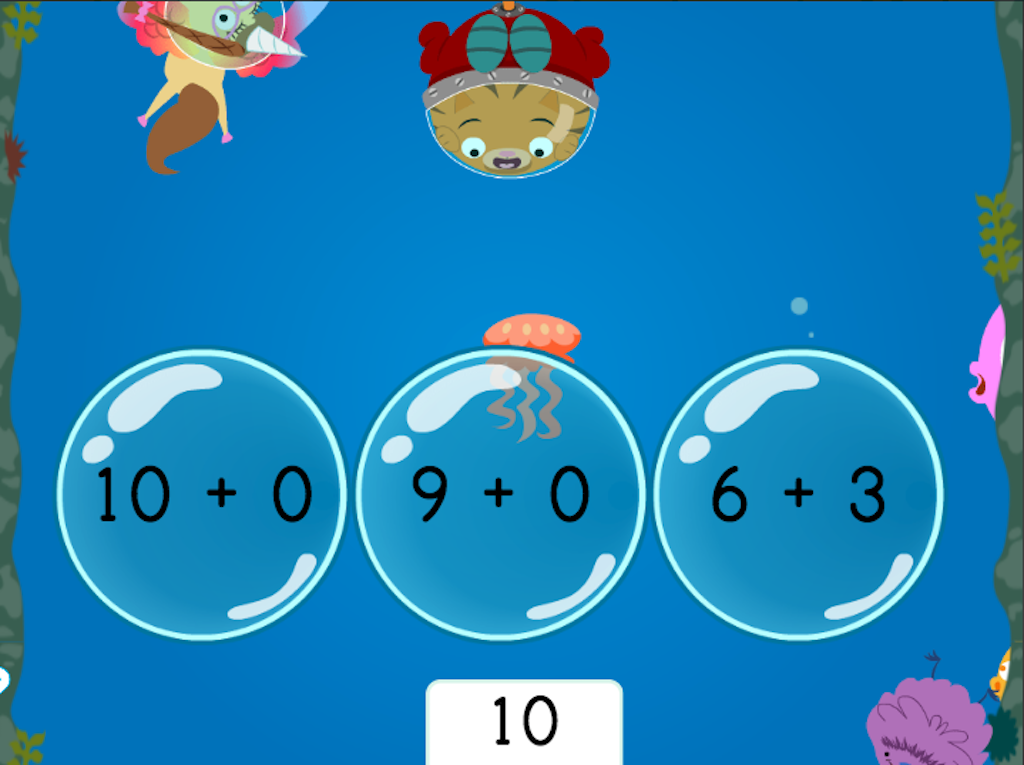 1st grade Math Games: Treasure Diving: Compose Numbers to Make 10 (Game 3)