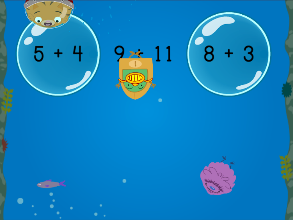 1st grade Math Games: Treasure Diving: Compose Numbers to Make 20 (Game 1)