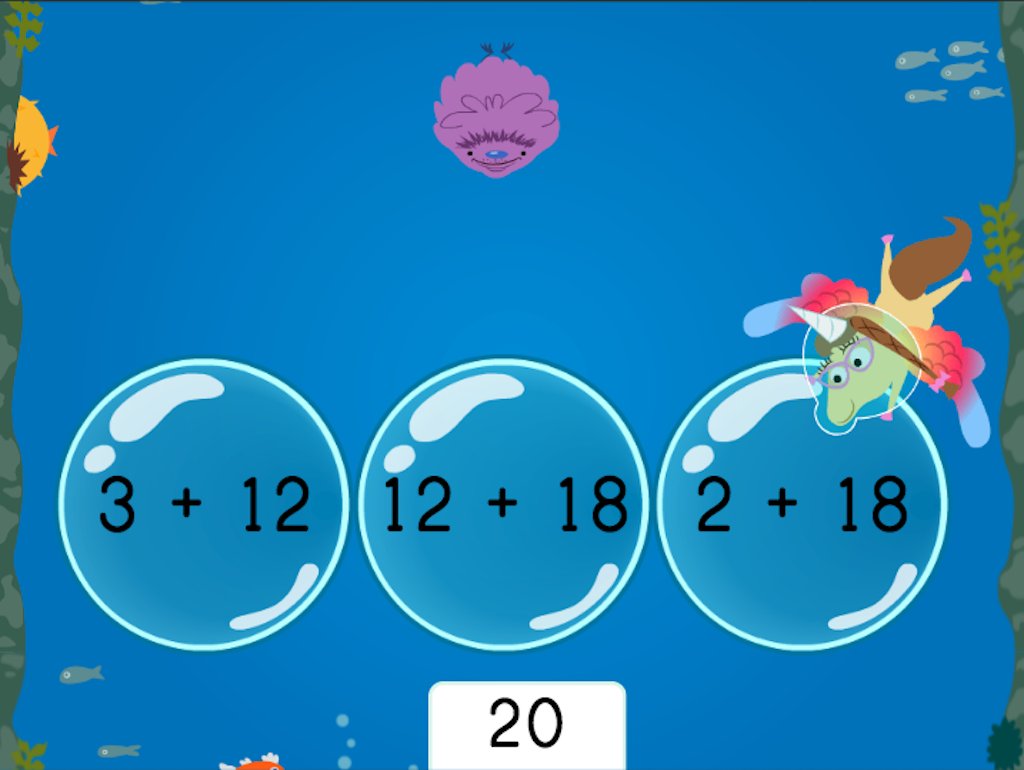 1st grade Math Games: Treasure Diving: Compose Numbers to Make 20 (Game 3)