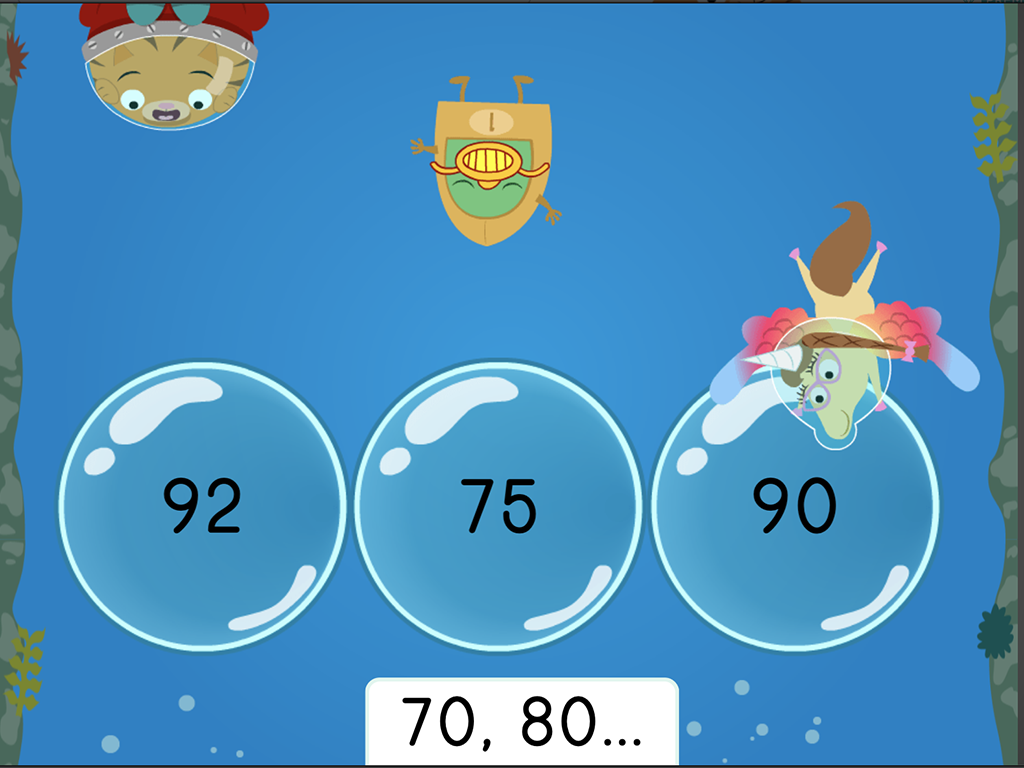 Kindergarten Math Games: Treasure Diving: Counting by 10s