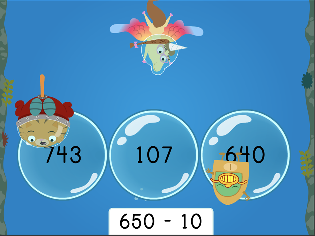 2nd grade Math Games: Treasure Diving: Finding 10 Less Three-Digit Subtraction