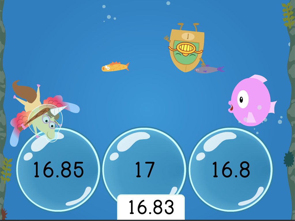 5th grade Math Games: Treasure Diving: Rounding Decimals to the Nearest Hundredth