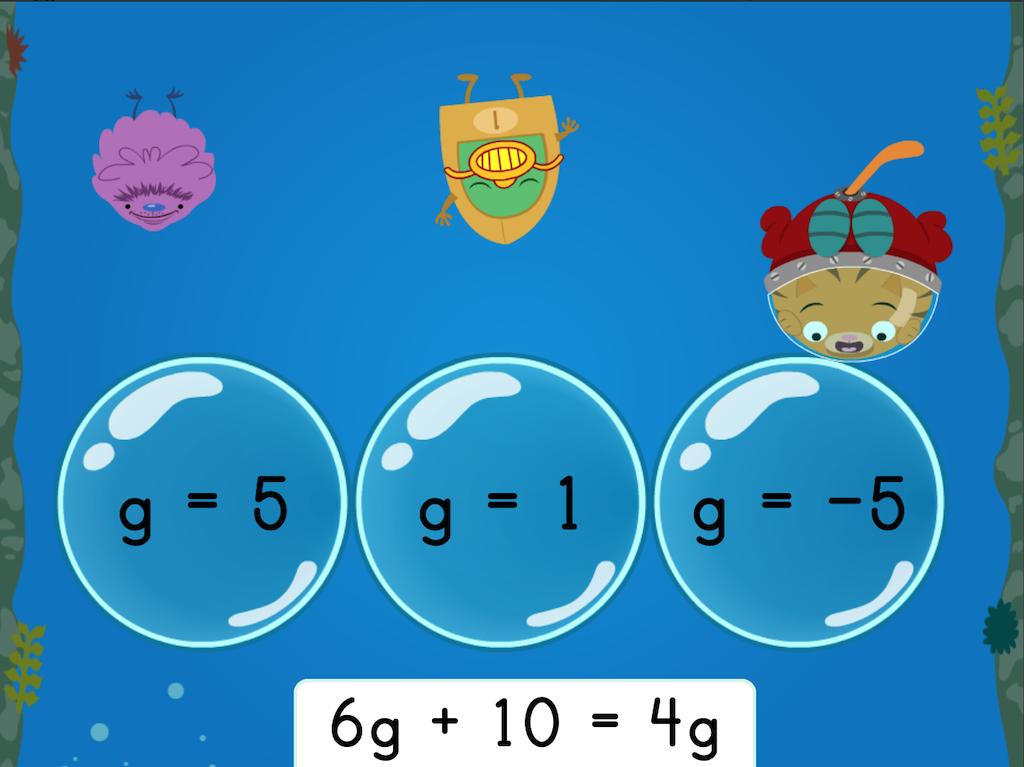 8th grade Math Games: Treasure Diving: Solving Multi-Step Equations