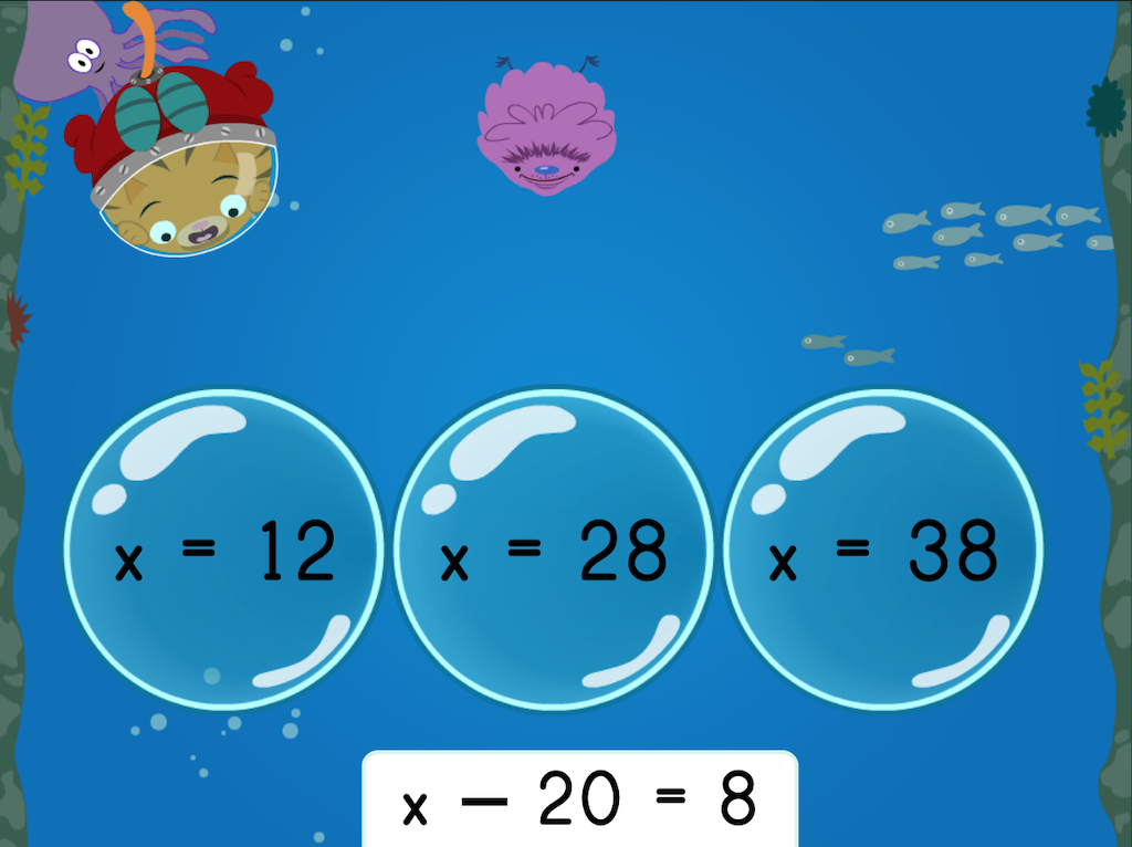 6th grade Math Games: Treasure Diving: Solving One-Step Addition and Subtraction Equations