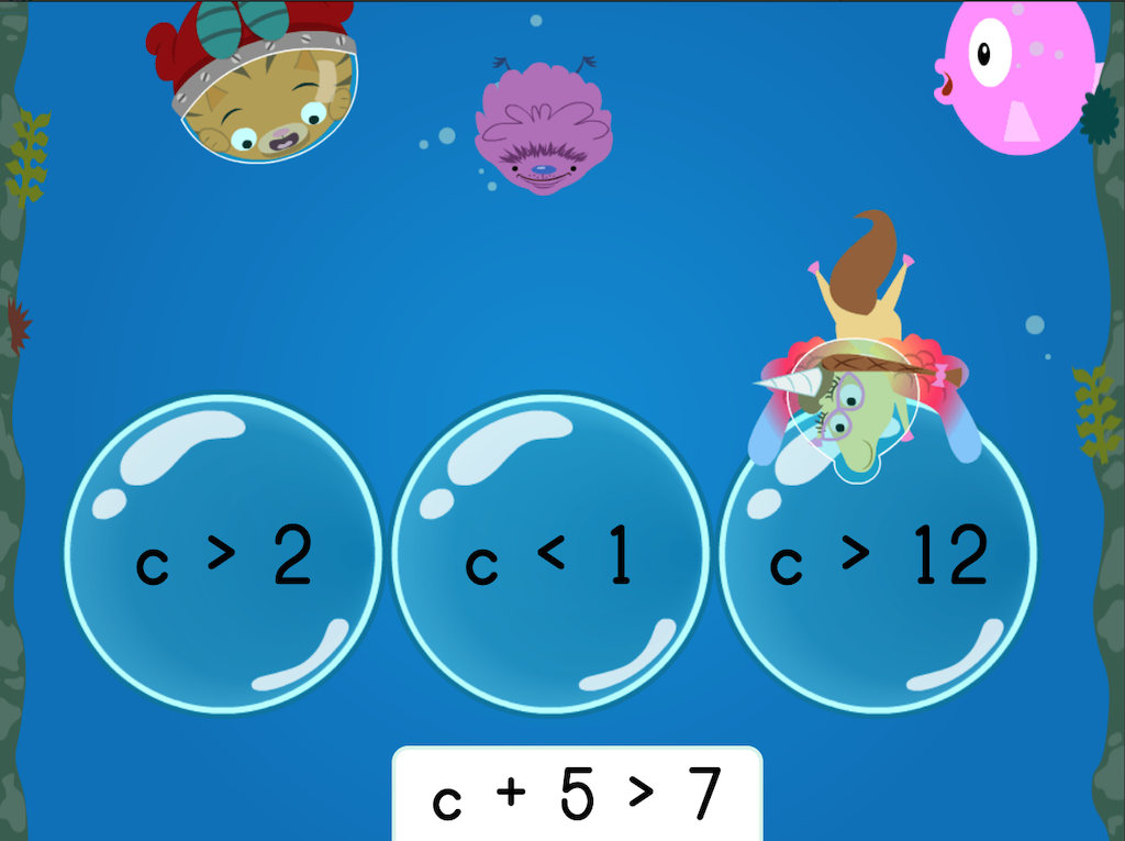 7th grade Math Games: Treasure Diving: Solving One-Step Addition and Subtraction Inequalities